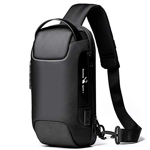 Bolsa tiracolo masculina impermeável USB Oxford, bolsa tiracolo antirroubo, mochila multifuncional, Preto, One_Size, Clássico