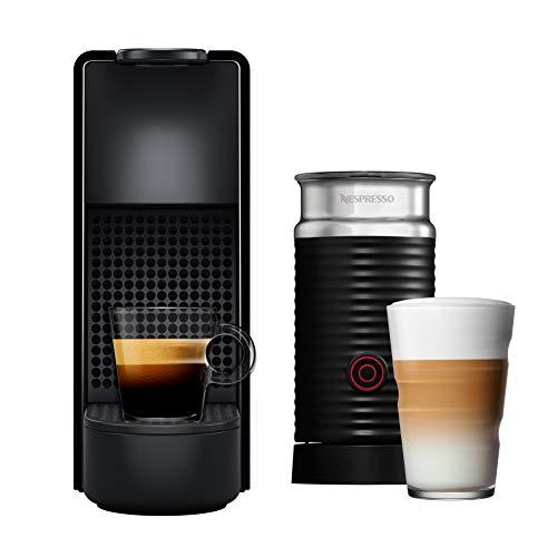 Nespresso Essenza Mini Cafeteira 110V Combo com Aeroccino, Máquina de café expresso compacta para casa, cápsula / cápsula elétrica automática (Preto / Cinza)