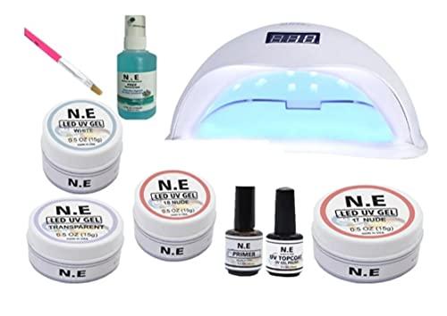 Kit 4 Gel Primer Top Coat Unhas Gel Sun5 48w Pincel Prep
