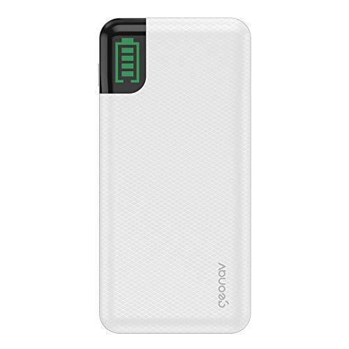 Carregador Portátil Universal 20.000mAh, 2 saídas USB QC 3 para carregamento rápido + 1 saída USB-C para carregamento rápido notebook até 60W (Power Delivery), até 7 recargas, Geonav, Branco
