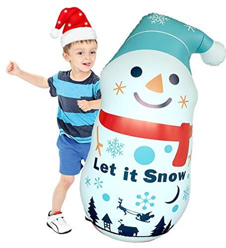 Copo inflável de boneco de neve de Natal, infláveis para crianças, boneco de neve inflável de 110 cm para decoração de casa, ambientes internos e externos