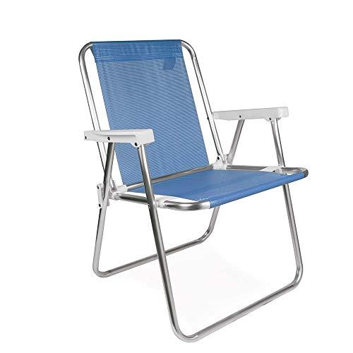 Mor 002274 - Cadeira Alta Alumínio, Azul