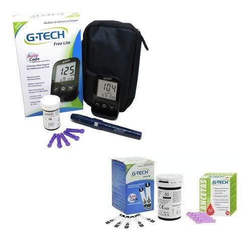 Medidor De Glicose G-tech Lite + 50 Tiras + 50 Lancetas