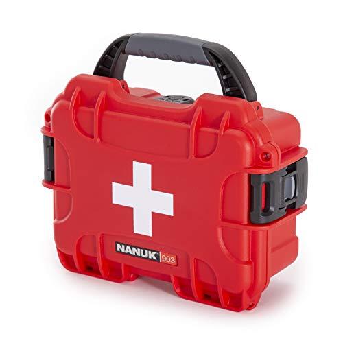 Nanuk Capa impermeável 903 com equipamento de sobrevivência de primeiros socorros, resistente à poeira e a impactos – Vazio – Vermelho