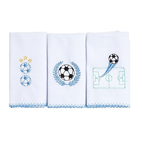 Babete Karinho Bordado 40Cm X 40Cm 03 Un, Papi Textil, Azul, 40Cmx40Cm