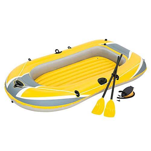 Barco inflável para 3 pessoas, Caiaque inflável de PVC durável para piscina, mar, lago, caiaque de pesca espesso dobrável com 2 remos, 1 bomba e 1 trava de ar em espiral