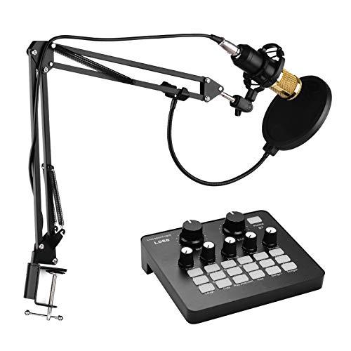 Khaco Kit de microfone condensador de gravação de estúdio de transmissão profissional com placa de som externa + pára-brisa de microfone + suporte de choque + suporte de braço de tesoura de suspensão