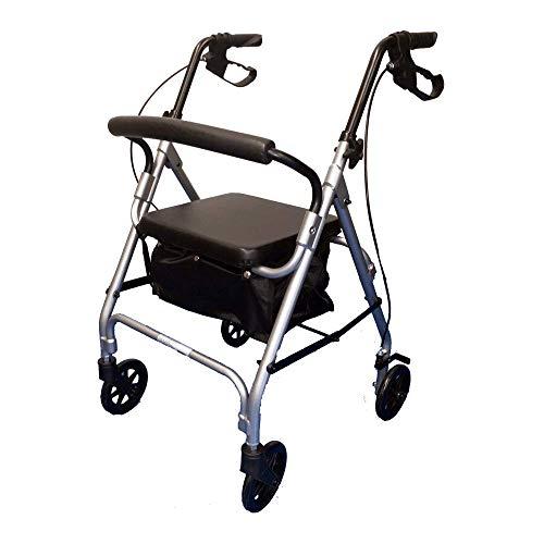 Andador Alumínio Dobrável 4 rodas 6' com bolsa/assento PRATA MBRLA42010 Cap. 100kg