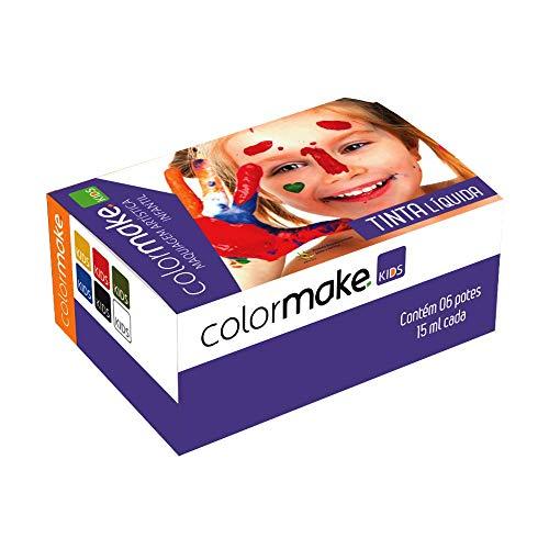 Yur 1211, Pintura Facial, Tinta Liquida Kids 6 Cores, 15 ml, Cartela com 06, Multicor