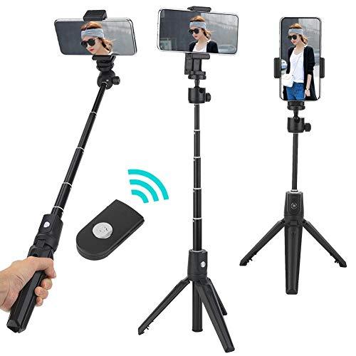 Tripé para bastão de selfie, 2 em 1 Suporte profissional multifuncional portátil para bastão de selfie de Bluetooth para telefone móvel Android/iOS, Suporte para tripé extensível leve Grampo para celu