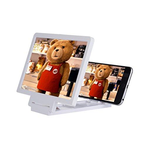 Amplificador universal de tela UEETEK para celular HD e filme, com suporte dobrável, 7.3 2.9 1.5 polegadas (LWH) (Branco)
