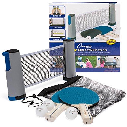 Champion Sports Tênis de mesa em qualquer lugar: kit com raquetes, bolas e suportes de rede portátil de pingue-pongue