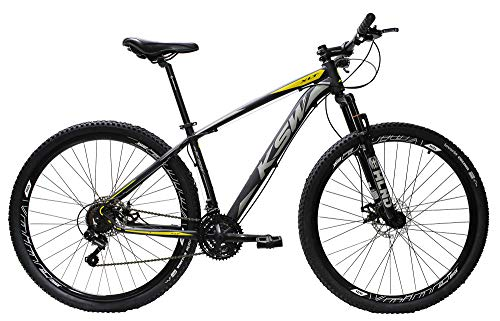 Bicicleta Aro 29 Ksw Aluminio Cambios Shimano 21v Freio À Disco (Preto/Prata/Amarelo, 17)