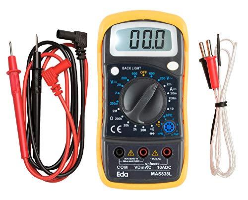 Multímetro digital com sensor de temperatura EDA 9KD, Preto
