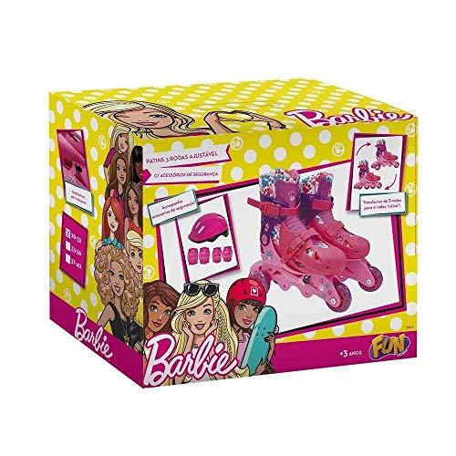 Barbie - Patins 3 Rodas Ajustável 29 à 32 - Com acessórios de segurança