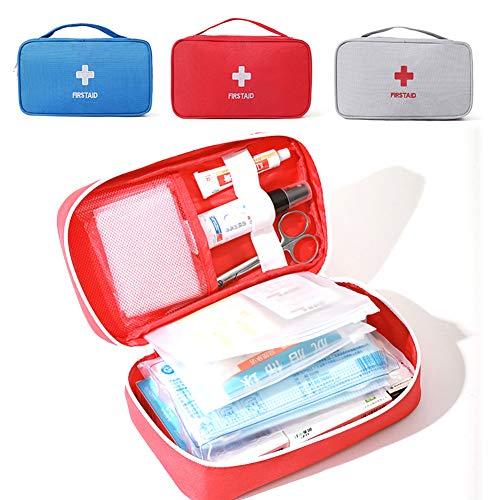 MCJL Kit de primeiros socorros à prova d'água, bolsa de armazenamento de carro de grande capacidade, bolsa médica de primeiros socorros para viagens de emergência, família ou acampamento, vermelha