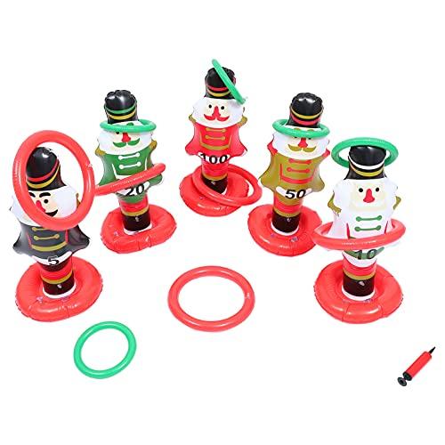 ifundom Conjunto de 1 conjunto de anéis infláveis de Natal, Papai Noel, boneco de neve, decoração de Natal, jogos de festa de Natal (cor aleatória)