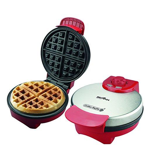 Golden waffle, Prepara 4 waffles, Vermelho, 220v, Britânia