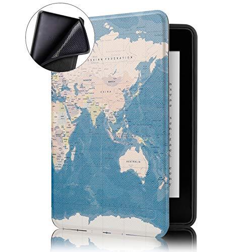 Capa Novo Kindle 10ª Geração WB® - Ultra Leve Silicone Flexível Sensor Magnético Mapa Mundi