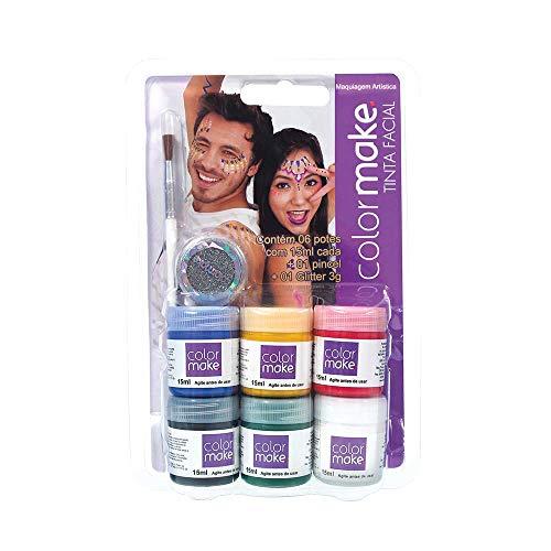 Yur 1000, Pintura Facial, Liquida 6 Cores, Pincel e Glitter Kit, Multicor