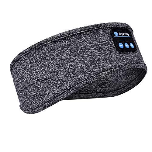 Fones de ouvido para dormir, fones de ouvido Bluetooth para dormir, fones de ouvido com alto-falantes embutidos, faixa de cabeça esportiva com fones de ouvido Bluetooth para dormir, correr, ioga, Cinza