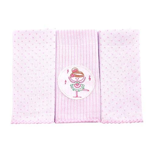 Paninho De Boca Poá Bordados Karinho 32Cm X 32Cm 03 Un, Papi Textil, Rosa, 32Cmx32Cm