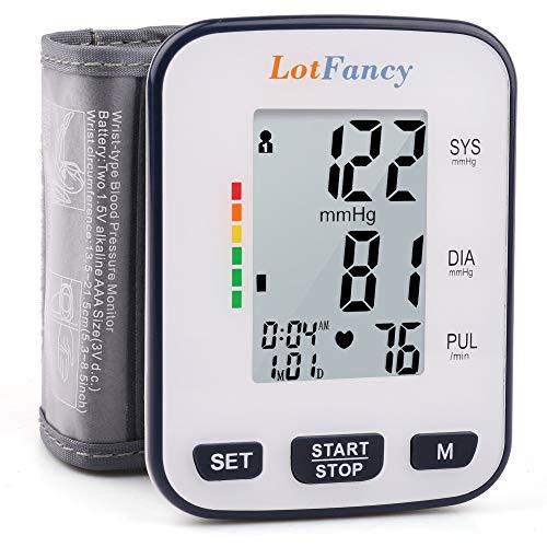 Monitor de pressão arterial de pulso da LotFancy, 120 memórias de leitura, punho de pulso BP (5,3 pol. - 8,5 pol.) , monitor digital de pressão arterial com tela LCD grande, capa portátil incluída